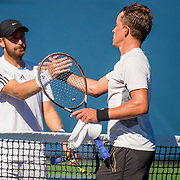 August 22, 2016, New Haven, Connecticut: <br /> Jose Statham and Nicolas Meister shake hands following the US Open National Playoffs men's singles finals match on Day 4 of the 2016 Connecticut Open at the Yale University Tennis Center on Monday August  22, 2016 in New Haven, Connecticut. <br /> (Photo by Billie Weiss/Connecticut Open)