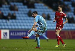 Coventry City's Marc McNulty scores the third goal against Swindon Town during the match at the Ricoh Arena