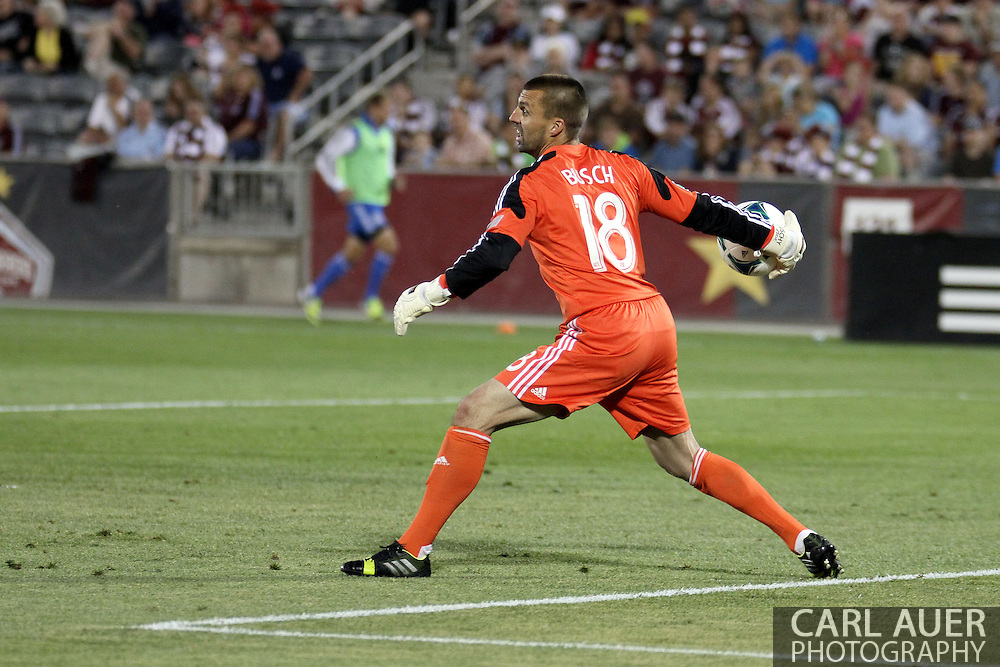 June 15th, 2013 - San Jose Earthquake goalkeeper Jon Busch (18) throws the ball in second half action of the MLS match between San Jose Earthquake and the Colorado Rapids at Dick's Sporting Goods Park in Commerce City, CO