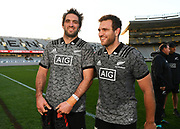 Sam and Luke Whitelock.<br /> All Blacks training session at Eden Park ahead of the upcoming test series against France. Auckland, New Zealand. Thursday 7 June 2018. © Copyright photo: Andrew Cornaga / www.Photosport.nz