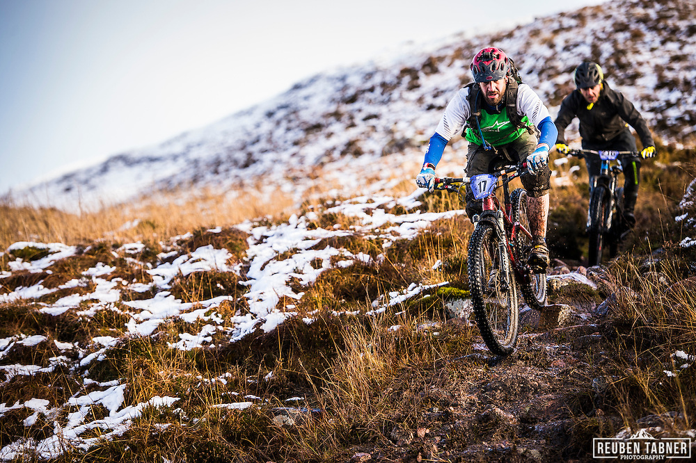 James Bowie is chased down by Kyle Thomson on stage one of the Kinlochleven Enduro.
