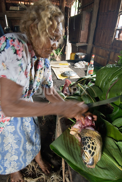 "An old woman hacks meat off a turtle head (Chelonia mydas) in preparation for ""Queen Victoria's"" funeral feast."