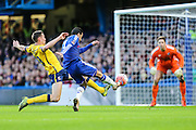Chelsea's Pedro shoots for goal during the The FA Cup third round match between Chelsea and Scunthorpe United at Stamford Bridge, London, England on 10 January 2016. Photo by Shane Healey.