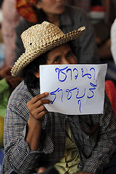 61029757<br /> A Thai farmer holds a banner during a rally at the compound of Thailand s Commerce Ministry in Nonthaburi province, on the outskirts of Bangkok, Thailand, Feb. 7, 2014.  Thai rice farmers who have gathered in protest of a delay in payments for their latest crop under the government s rice-pledging program on Friday drew a deadline for the government to pay before Feb. 15. 2014, Date Taken Friday, 7th February 2014. Picture by  imago / i-Images<br /> UK ONLY