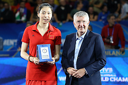 CHINA YANG JUNJING BEST MIDDLE BLOCKER<br /> AWARDING CEREMONY<br /> VOLLEYBALL WOMEN'S WORLD CHAMPIONSHIP 2014<br /> MILAN 12-10-2014<br /> PHOTO BY FILIPPO RUBIN