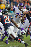 25 November 2012: Tackle Matt Kalil of the Minnesota Vikings blocks against the Chicago Bears during the second half of the Bears 28-10 victory over the Vikings in an NFL football game at Soldier Field in Chicago, IL.