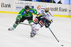 13.09.2015, Hala Tivoli, Ljubljana, SLO, EBEL, HDD Telemach Olimpija Ljubljana vs EC VSV, 2. Runde, in picture Andrej Tavzelj (HDD Telemach Olimpija, #18) and Ziga Pance (EC VSV, #13) during the Erste Bank Icehockey League 2. Round between HDD Telemach Olimpija Ljubljana and EC VSV at the Hala Tivoli, Ljubljana, Slovenia on 2015/09/13. Photo by Urban Urbanc / Sportida