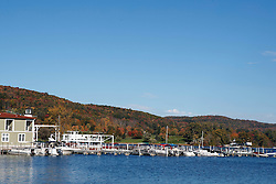Cooperstown Lake Front Hotel and marina on Otesgo Lake, Cooperstown, New York, United States of America