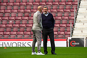 Heart of Midlothian manager Craig Levein chats with Gary McAllister, assistant manager of Rangers FC on the pitch before the Ladbrokes Scottish Premiership match between Heart of Midlothian and Rangers FC at Tynecastle Park, Edinburgh, Scotland on 20 October 2019.