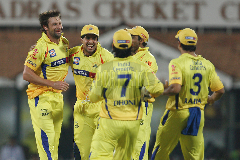 CSK players congratulate Ben Hilfenhaus on taking a wicket during match 59 of the the Indian Premier League ( IPL) 2012  between The Chennai Superkings and the Delhi Daredevils held at the M. A. Chidambaram Stadium, Chennai on the 12th May 2012..Photo by Jacques Rossouw/IPL/SPORTZPICS
