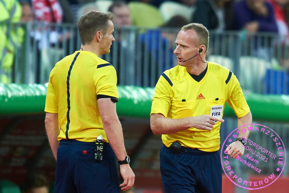 (C) Fourth official referee Marcin Borski from Poland substitutes of injured referee Alain Bieri from Switzerland during international friendly soccer match between Poland and Greece at PGE Arena Stadium on June 16, 2015 in Gdansk, Poland.<br /> Poland, Gdansk, June 16, 2015<br /> <br /> Picture also available in RAW (NEF) or TIFF format on special request.<br /> <br /> For editorial use only. Any commercial or promotional use requires permission.<br /> <br /> Adam Nurkiewicz declares that he has no rights to the image of people at the photographs of his authorship.<br /> <br /> Mandatory credit:<br /> Photo by &copy; Adam Nurkiewicz / Mediasport