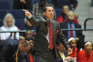 Ole Miss coach Matt Insell reacts vs. Tennessee Martin Skyhawks in a WNIT game in Oxford Miss. on Wednesday, March 18, 2015. Mississippi won 80-70. (AP Photo/Oxford Eagle, Bruce Newman)