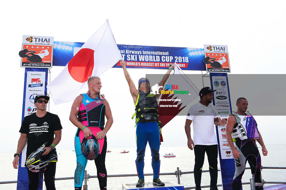 PATTAYA, THAILAND - DECEMBER 09: Top 3 riders on the podium: Hajime Isahai (J87) of Japan and Marine Mechanic, Marcus Jorgensen (11) of Denmark and MJ Racing, and Waleed Alsharshani (11) of Qatar during the Royal Trophy presentation for the Pro Runabout GP at the Thai Airways International Jet Ski World Cup 2018, Jomtien Beach, Pattaya, Thailand on December 09, 2018. <br /> .<br /> .<br /> .<br /> (Photo by: Naratip Golf Srisupab/SEALs Sports Images)<br /> .<br /> Any image use must include a mandatory credit line adjacent to the content which should read: Naratip Golf Srisupab/SEALs Sports Images