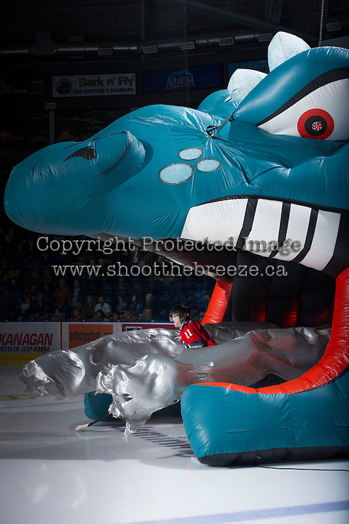KELOWNA, CANADA - DECEMBER 8: Carter Rigby #11 of the Kelowna Rockets enters the ice against the Prince George Cougars at the Kelowna Rockets on December 8, 2012 at Prospera Place in Kelowna, British Columbia, Canada (Photo by Marissa Baecker/Shoot the Breeze) *** Local Caption ***