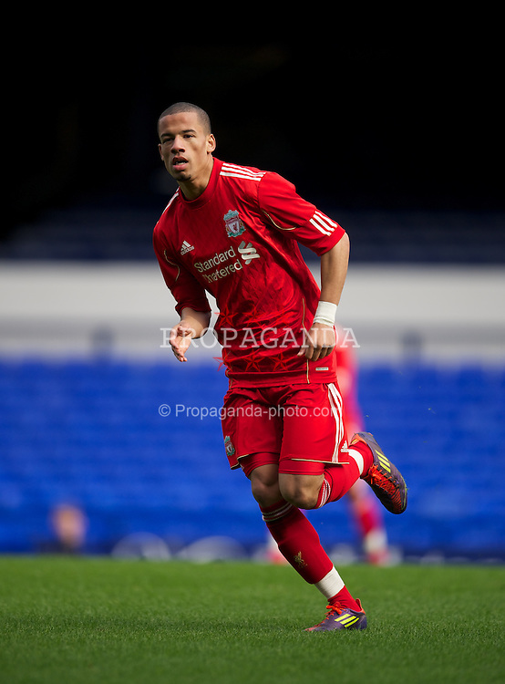 LIVERPOOL, ENGLAND - Tuesday, March 6, 2012: Liverpool's Kristzian Adorjan in action against Everton during the FA Premier Reserve League match at Goodison Park. (Pic by David Rawcliffe/Propaganda)