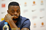 Alex Song from Barcelona while press conference in The Polish Baltic Frederic Chopin Philharmonic in Gdansk, Poland.<br /> A few hours before friendly match between Lechia Gdansk and FC Barcelona.<br /> <br /> Poland, Gdansk, July 30, 2013<br /> <br /> Picture also available in RAW (NEF) or TIFF format on special request.<br /> <br /> For editorial use only. Any commercial or promotional use requires permission.<br /> <br /> Photo by © Adam Nurkiewicz / Mediasport
