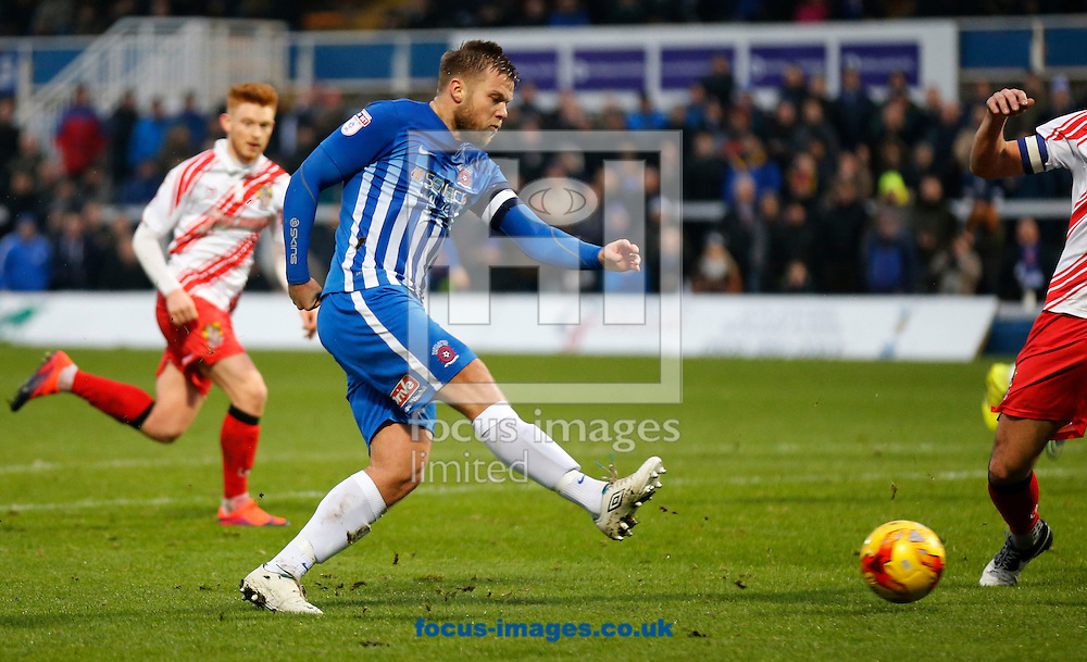 Nicky Featherstone of Hartlepool United shooting during the Sky Bet League 2 match at Victoria Park, Hartlepool<br /> Picture by Simon Moore/Focus Images Ltd 07807 671782<br /> 21/01/2017