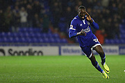 Freddie Ladapo of Oldham Athletic runs of to celebrate after scoring the first goal of the game to make the score 1-0 during the EFL Sky Bet League 1 match between Oldham Athletic and Scunthorpe United at Boundary Park, Oldham, England on 18 October 2016. Photo by Simon Brady.