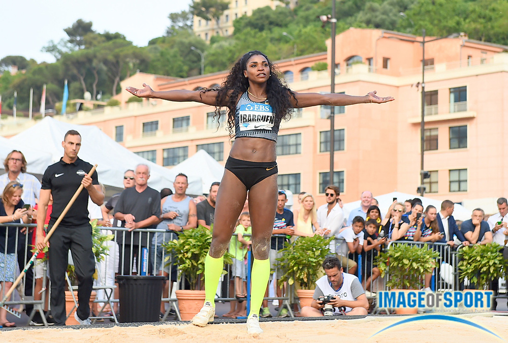Caterine Ibarguen (COL) reacts after placing sixth in the women's triple jump at 47-0 1/4 (14.33m) during the women's triple jump in the  Herculis Monaco in an IAAF Diamond League meet , Thursday, July 11, 2019, in Port Hercules, Monaco.(Jiro Mochizuki/Image of Sport)