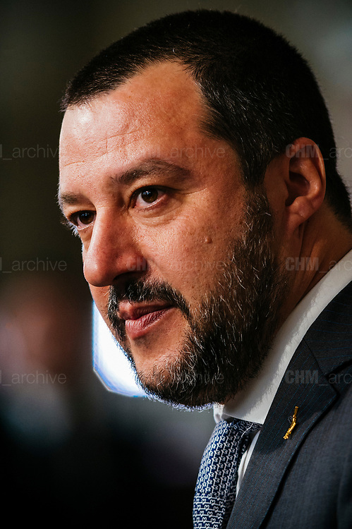The League candidate, Matteo Salvini, after a meeting with Italian President Sergio Mattarella during the consultations of political parties at the Quirinale palace in Rome on 5 April 2018. Christian Mantuano / OneShot