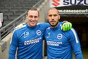 Brighton goalkeeper, David Stockdale (13) and Brighton goalkeeper, Niki Maenpaa (1) during the Sky Bet Championship match between Milton Keynes Dons and Brighton and Hove Albion at stadium:mk, Milton Keynes, England on 19 March 2016. Photo by Dennis Goodwin.