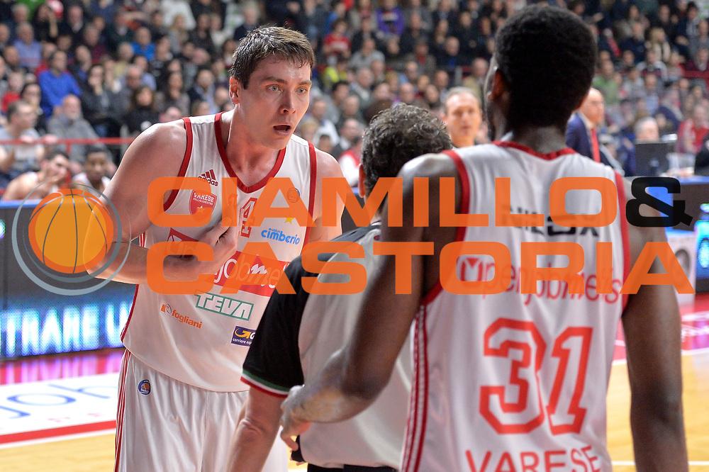 DESCRIZIONE : Milano Lega A 2014-15 Openjobmetis Varese- Vagoli Basket Cremona<br /> GIOCATORE : Kangur Kristjan<br /> CATEGORIA : Fair Play Mani <br /> SQUADRA : Openjobmetis Varese<br /> EVENTO : Campionato Lega A 2014-2015 GARA :Openjobmetis Varese - Vagoli Basket Cremona<br /> DATA : 22/03/2015 <br /> SPORT : Pallacanestro <br /> AUTORE : Agenzia Ciamillo-Castoria/IvanMancini<br /> Galleria : Lega Basket A 2014-2015 Fotonotizia : Varese Lega A 2014-15 Openjobmetis Varese - Vagoli Basket Cremona