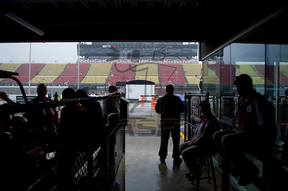 Brooklyn, MI - JUN 17, 2012: Rain delay during the Sprint Cup Quicken Loans 400 at Michigan International Speedway in Brooklyn, MI.
