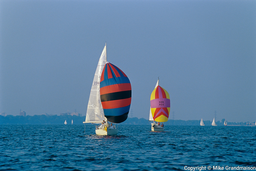 Sailing on Lake Ontario  (Hamilton Harbour) during regatta<br />