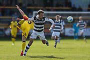 Forest Green Rovers Christian Doidge(9) beats Southport's Neil Ashton(3) to the ball during the Vanarama National League match between Southport and Forest Green Rovers at the Merseyrail Community Stadium, Southport, United Kingdom on 17 April 2017. Photo by Shane Healey.