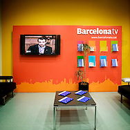 "Barcelona, Spain. ""Barcelona tv"" television studio. Barcelona TV is the first public television of Catalunya. Since 1995 Barcelonatv broadcast digitally. BTV company is located in @22 technological district."