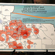 """The Orange County """"Heat Map"""" shows the spreading Coronavirus (Covid-19) hotspots in Orange County at the Orange County Administration Center on Friday, April 3, 2020 in Orlando, Florida. The combined total of positive cases, as well as those persons who are being monitored or under investigation as potential case are listed by zip code. (Alex Menendez via AP)"""