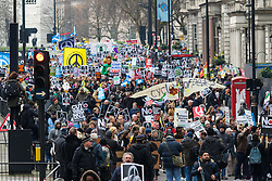 London, February 27th 2016. Thousands of protesters flood along Piccadilly during CND's march and rally opposing the UK's Trident nuclear weapons programme. <br /> &copy;Paul Davey<br /> FOR LICENCING CONTACT: Paul Davey +44 (0) 7966 016 296 paul@pauldaveycreative.co.uk