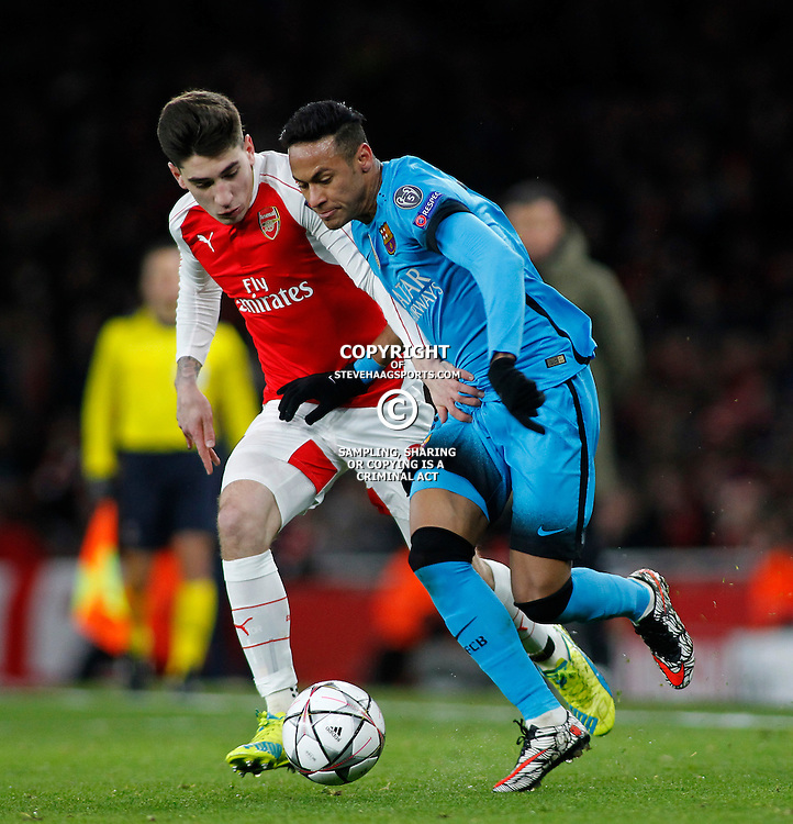 LONDON, ENGLAND - FEBRUARY 23: Hector Bellerin of Arsenal and Neymar of Barcelona compete for the ball during the Champions League match between Arsenal and Barcelona at The Emirates Stadium on February 23, 2016 in London, United Kingdom. (Photo by Mitchell Gunn/ESPA-Images)