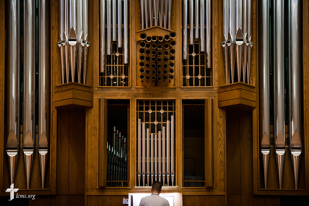 Matthew Machemer, associate cantor at Concordia Theological Seminary, Fort Wayne, Ind., performs during Matins in the Chapel of Our Lord at the 2017 Institute on Liturgy, Preaching and Church Music on Wednesday, July 26, 2017, at Concordia University Chicago in River Forest, Ill. LCMS Communications/Erik M. Lunsford