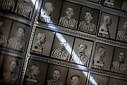 Reading room for visitors  at the archive of the Auschwitz Nazi concentration camp. A photo album with portraits of prisoners after their arrival in Auschwitz made by Wilhelm Brasse who was forced to photograph for the Nazis. It is estimated that between 1.1 and 1.5 million Jews, Poles, Roma and others were killed in Auschwitz during the Holocaust in between 1940-1945.