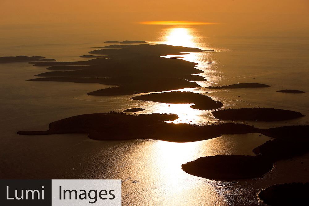 Pakleni Otoci, Archipelago, Sunset, Adriatic Sea, Aerial View