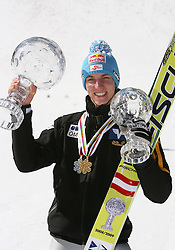 Best overall individual in World cup standings Gregor Schlierenzauer (Austria) at Flying Hill Individual in 4th day of 32nd World Cup Competition of FIS World Cup Ski Jumping Final in Planica, Slovenia, on March 22, 2009. (Photo by Vid Ponikvar / Sportida)