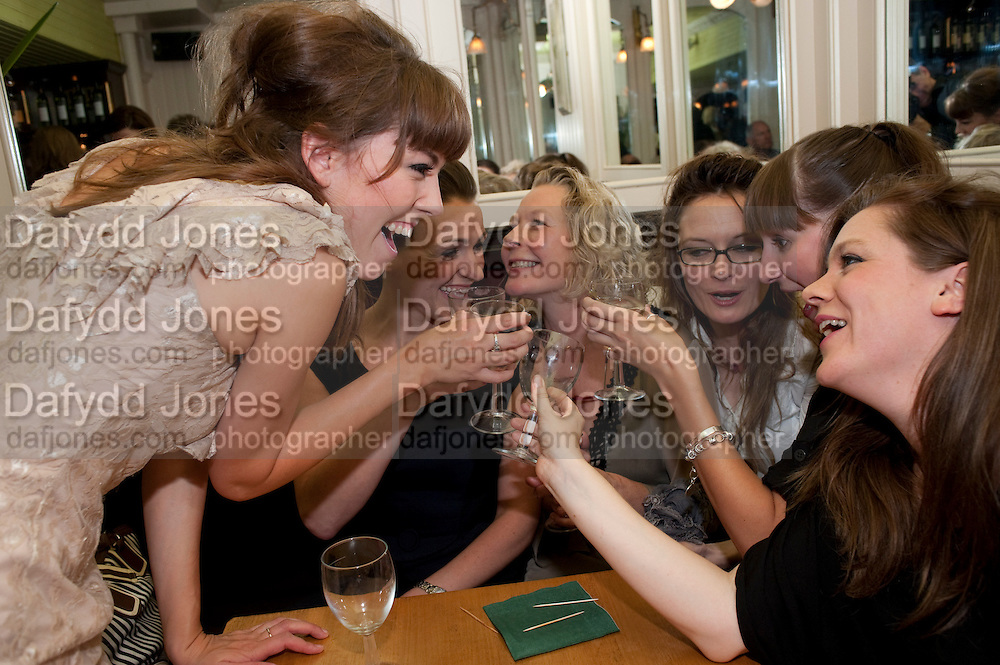 LISA KERR; SURANNE JONES; STELLA GONET; CATHERINE MCCORMACK; LAURA ELPHINSTONE; OLIVIA POULET, Caryl Churchill's Top Girls opening night at the Trafalgar Studios. Party afterwards in Walker's Court. London. 16 August 2011. <br /> <br />  , -DO NOT ARCHIVE-© Copyright Photograph by Dafydd Jones. 248 Clapham Rd. London SW9 0PZ. Tel 0207 820 0771. www.dafjones.com.