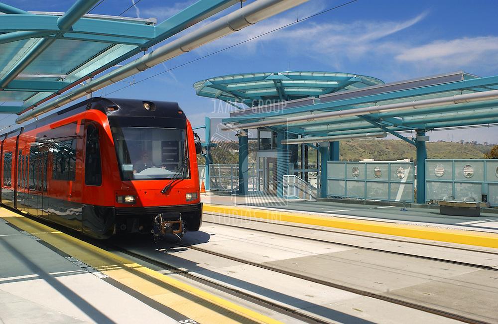 light rail trolley at trolley station in San Diego