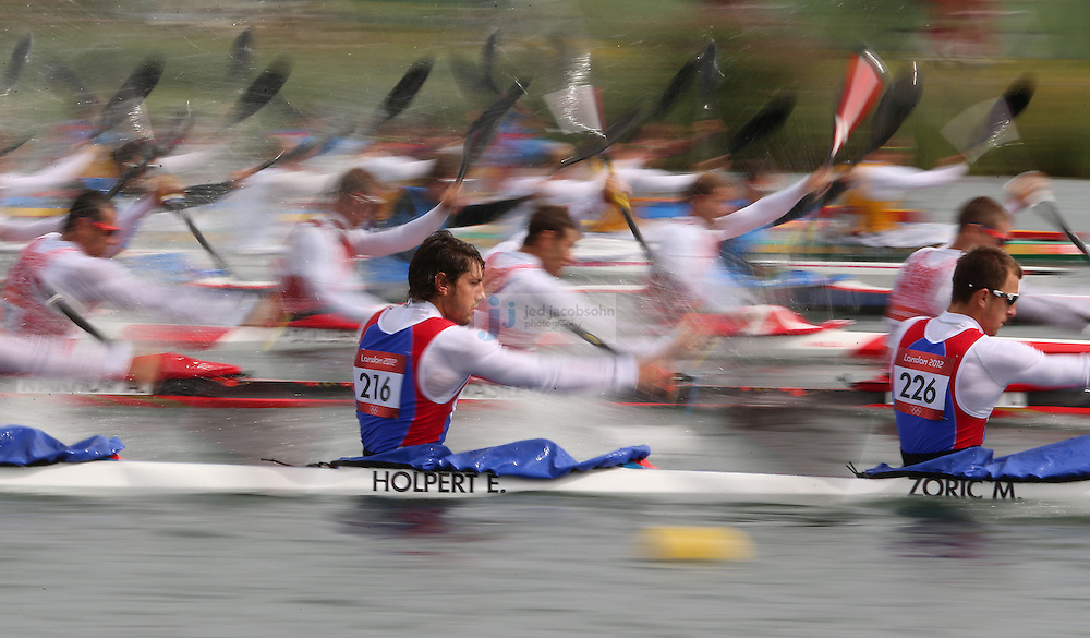 Ervin Holpert and Milenko Zoric of Serbia compete in the K4 1000m kayak at Eton Dorney during day 11 of the London Olympic Games in London, England, United Kingdom on August 7, 2012..(Jed Jacobsohn/for The New York Times)..