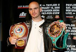 December 11, 2007; New York, NY, USA;  Unbeaten World Middleweight Champion Kelly Pavlik poses with his WBO/WBC Middleweight belts at the press conference announcing his rematch against former champion Jermain Taylor, which will take place Saturday, February 16, 2008, at MGM Grand in Las Vegas, NV.  Taylor missed attending the press conference due to the birth of his baby girl on Monday evening.