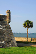 "Castillo de San Marcos National Monument overlooks Matanza's Bay in St. Augustine, Florida. The ""Coquina"" fort was built by the Spanish. St. Augustine is the oldest continually occupied city in the United States."