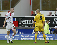 Photo: Marc Atkins.<br /> <br /> Milton Keynes Dons v Notts County. Coca Cola League 2. 02/09/2006. Matt Somner (R) of Notts County reacts after being sent off.
