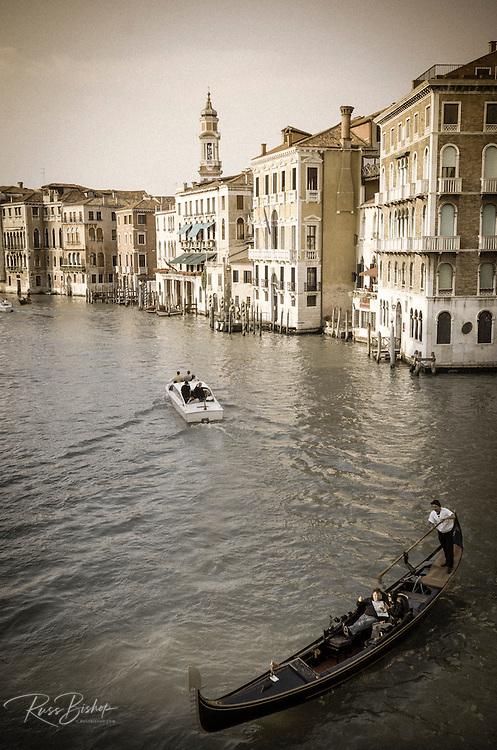 Evening light on the Grand Canal and gondola, Venice, Veneto, Italy