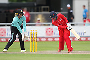 Lancashire Thunders Alex Hartley during the Women's Cricket Super League match between Lancashire Thunder and Surrey Stars at the Emirates, Old Trafford, Manchester, United Kingdom on 7 August 2018.
