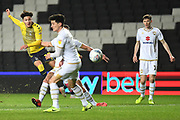 Coventry City midfielder (on loan from Aston Villa) Callum O'Hare (17) takes a shot at goal during the EFL Trophy match between Milton Keynes Dons and Coventry City at Stadium:MK, Milton Keynes, England on 3 December 2019.