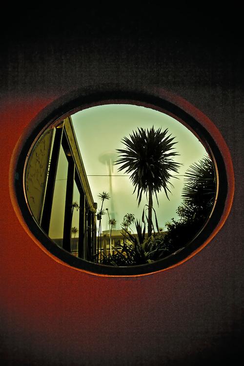 Space Needle viewed through hotel window across street.  Copyright 2008 Reid McNally.