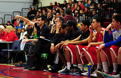 Bristol Academy Flyers' head coach, Andreas Kapoulas gestures to his team from the bench - Photo mandatory by-line: Dougie Allward/JMP - Tel: Mobile: 07966 386802 23/03/2013 - SPORT - Basketball - WISE Basketball Arena - SGS College - Bristol -  Bristol Academy Flyers V Essex Leopards