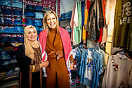 Queen Maxima of The Netherlands visits two female entrepreneurs in Al Hana Boutique and Ladies hairdresser who provide mobile financial services  from Dinerak in Zarqa, Jordan, 11 February 2019. Queen Maxima is in Jordan for an two day visit in her capacity as United Nation Secretary General's Special Advocate for Inclusive Finance for Development. Copyright ROBIN UTRECHT