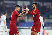 Diego Perotti of Roma celebrates with Leonardo Spinazzola after scoring 1-0 goal during the UEFA Europa League, Group J football match between AS Roma and Wolfsberg AC on December 12, 2019 at Stadio Olimpico in Rome, Italy - Photo Federico Proietti / ProSportsImages / DPPI